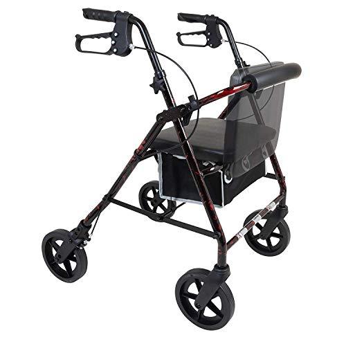 ProBasics 4 Wheel Medical Rolling Walker with Wheels, Seat, Backrest and Storage Pouch - Rollator Walker for Seniors- Durable Aluminum Frame Supports up to 300 lbs, 8-inch Wheels, Burgundy Flame