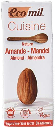 ECOMIL Cousine Almond Nature, Crema de Almendras para cocinar - Pack de12 unidades de 200 ml (192314)