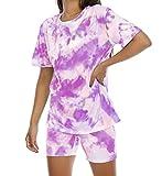 Womens Summer Two-Piece Sports Outfit - Tie Dye Tops Short Sleeve Tracksuit Shorts Sportswear Set 2 Piece Short Set