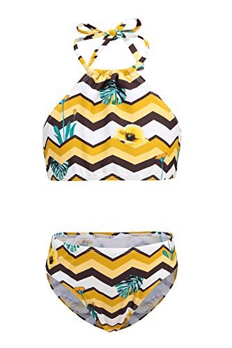 Moon Tree Großes Mädchen Bikini Badeanzug Hawaiian Badeanzug Strand Leibchen Gelb 11-12 Jahre Alt/164