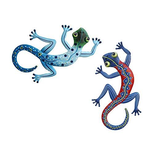2 piezas de metal Gecko, decoración de pared al aire libre, decoración de lagarto, adorno artístico para colgar en el patio, porche, césped de patio, decoraciones de valla de pared