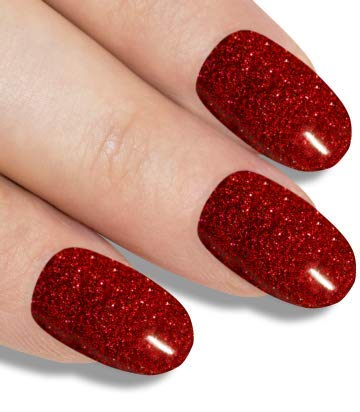 Bling Art Oval False Nails Fake Acrylic Gel Red Full Cover 24 Medium Tips Glue