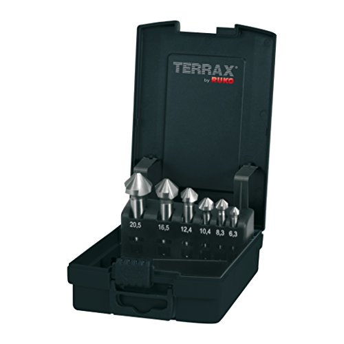 TERRAX by RUKO A102152RO Kegel- und Entgratsenker-Satz DIN 335 Form C 90° HSS in Kunststoffkassette