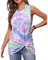 MEIVSO Women's Tie Dye Twisted Knot Tank Tops Loose Fit Casual Sleeveless Shirts Blouses Purple L