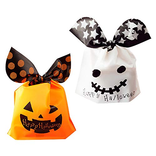 100 Piezas de Bolsos Dulces de Halloween, Divertidas Bolsas de Regalo de Calabaza Para la Fiesta de Halloween, Happy Halloween Treat Bag para Sweet Cookie, 2 Estilos