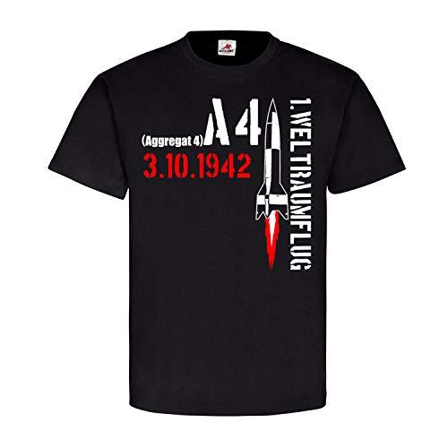 Aggregat 4 Rakete A4 1er Weltraumflug V2 Peenemünde Geheimwaffe T Shirt #21729, Größe:M, Farbe:Schwarz