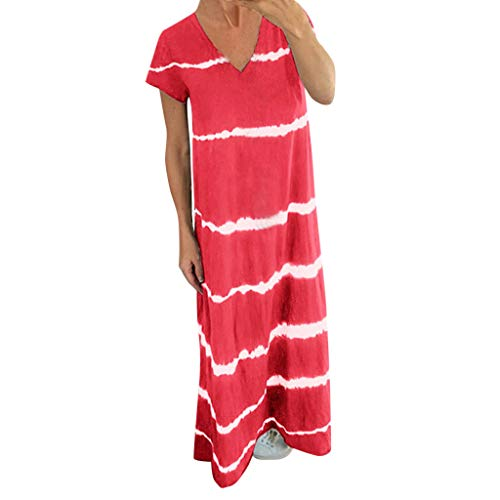 Xmiral Kleid Damen Kurzarm Streifen Drucken V-Ausschnitt LoseKnöchel-Länge Maxi Kleider Sommerkleid Party Cocktail Elegant Kleid(Rot,XL)