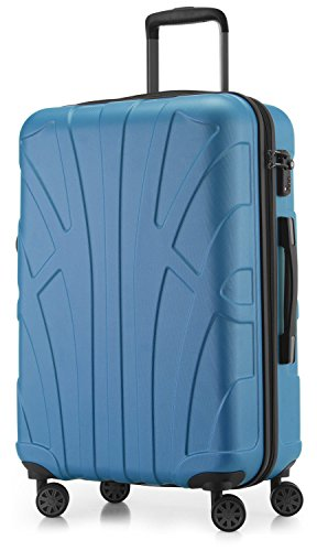Suitline - Maleta rígida, Equipaje de Viaje, TSA, 66 cm, Aprox. 58 litros, 100% ABS Mate, Azul Cian