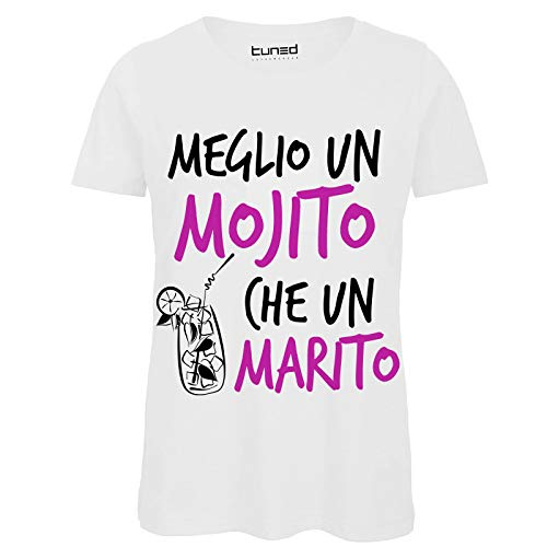 CHEMAGLIETTE! T-Shirt Divertente Donna Maglia Addio al Nubilato Meglio Un Mojito Che Un Marito, Colore: White, Taglia: XL