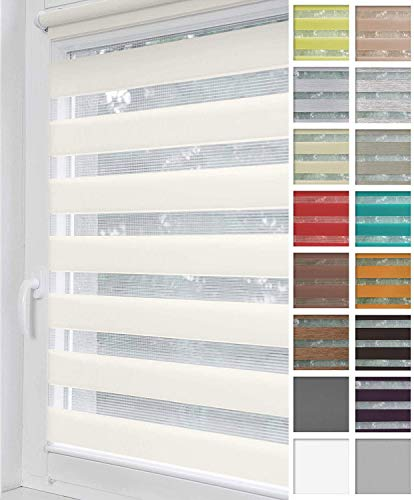 Home-Vision® Duo Rollo Klemmfix, Doppelrollo ohne Bohren mit Klämmträgern, Rollos für Fenster und Türen (Weiß, B60cm x H150cm)