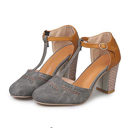 2019 Zapatos De Tacón Alto Ancho, Sandalias De Vestir En Contraste Punta Redonda Zapatillas con Hebillas Sandalias Romanas De Boda Fiesta De Baile Elegante Chic De Verano Primavera 35-43(Gris, 35)