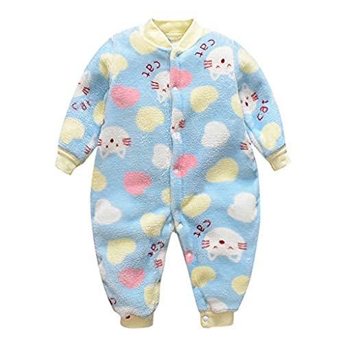 0-16 Meses,SO-buts Recién Nacido Bebé Niña Niño Otoño Invierno Mono De Mameluco Cálido Polar De Dibujos Animados Pijamas Suaves Mameluco (Azul, 80)