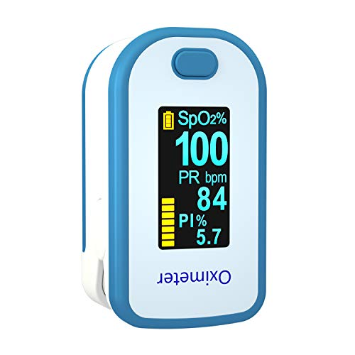 Portable Oximeter with Lanyard, OLED Blood Oxygen Saturation Meter, O2 Saturation Monitor with Pulse Rate and Pulse Bar Graph