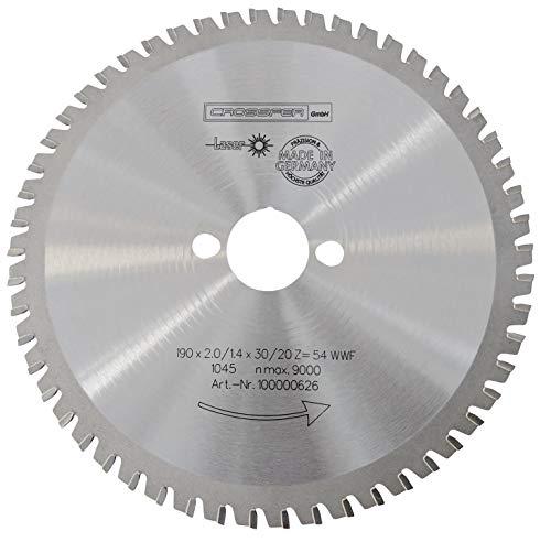 CROSSFER HM Kreissägeblatt 190 x 30 mm Z54 Multifunktionssägeblatt für Metall Kunststoff Spanplatten Laminat Hartmetall bestückt für Kreissägen