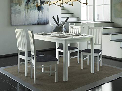 Mirjan24 Esstisch mit 4 Stühlen DM53, Esstischgruppe, Sitzgruppe, Esszimmer Set, Küchentisch, Esstisch Stuhlset, Esszimmergarnitur, DMXZ (Weiß/Weiß Malmo New 95)