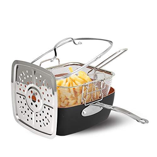 CS Kochsysteme 6 in 1 Multipfannenset KUPFERBERG indukionsfähiges Multi-Pfannenset zum Kochen, Braten, Schmoren, Dampfgaren, Backen & Frittieren mit Keramikbeschichtung