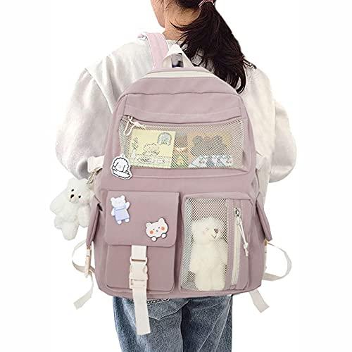 Briskorry Kawaii Mochila para niña y mujer, con peluche, bonita mochila para el colegio o para el colegio o para viajar, color rosa, negro, blanco y azul, Rosa., Einheitsgröße