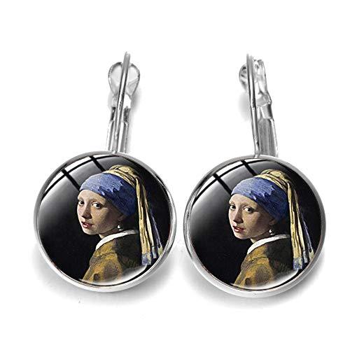Pendientes vintage de pintura al óleo con perlas colgantes, color bronce antiguo, aleación de color bronce