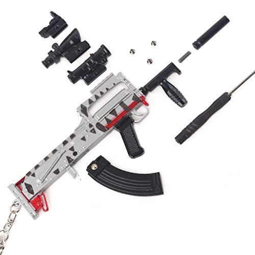 BYWL 1/3 Metal Groza Asalto Rifle Pistola Aleación Artes Llavero Modelo de Regalo Juguete Prop Artesanía Decoración Figura de Acción
