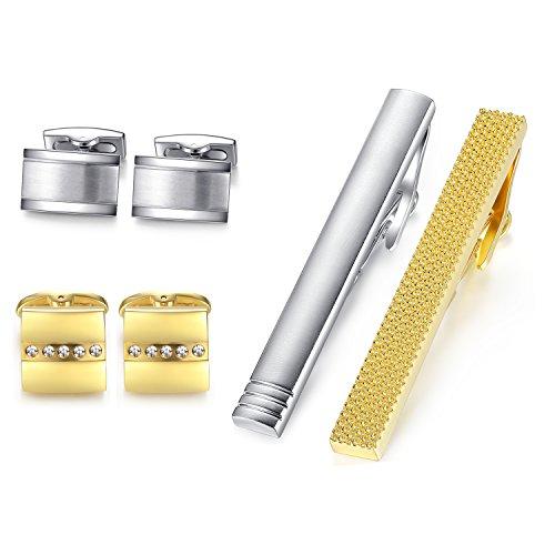 Honey Bear Herren manschettenknöpfe krawattennadel Set,Shirt Zubehör, Edelstahl für die Hochzeit,Silber Gold (mit Box)