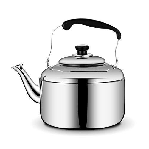 Electric oven Hervidor de té Grande de Acero Inoxidable con hervidor de tetal con Mango de baquelita Anti-escaldado (Color : Silver, tamaño : 6L)