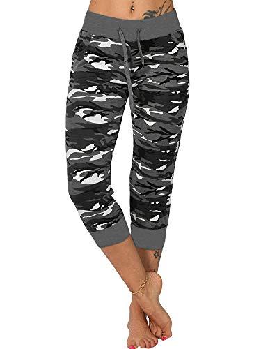 AAP Pantalones capri de camuflaje para mujer, pantalones de yoga, leggings de gimnasio recortados con bolsillos, pantalones para correr