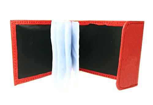 Napa titular de la tarjeta de crédito blando, con cierre de velcro - tiene 10 ranuras para tarjetas de crédito - cuero rojo