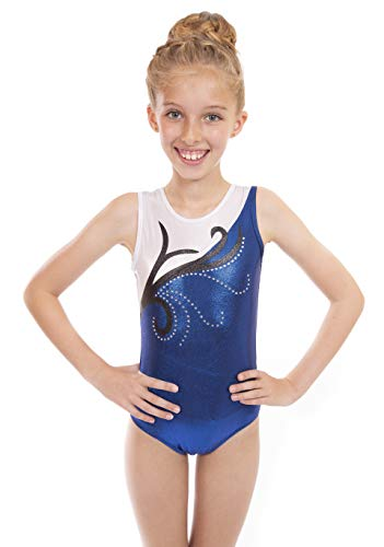 Vincenza Dancewear 'Disco' Blue Metallic, Girls Short Sleeved Leotard for Gymnastics (5-6 Years, 26