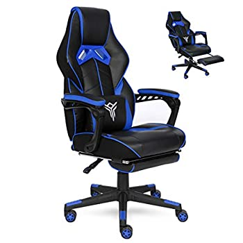 YOURLITEAMZ Racing Gaming Chair with Footrest and Massage Lumbar Pillow Swivel Height Adjustable Reclining PU Leather Video Game Chair E-Sports Gaming Chair Big and Tall  Blue