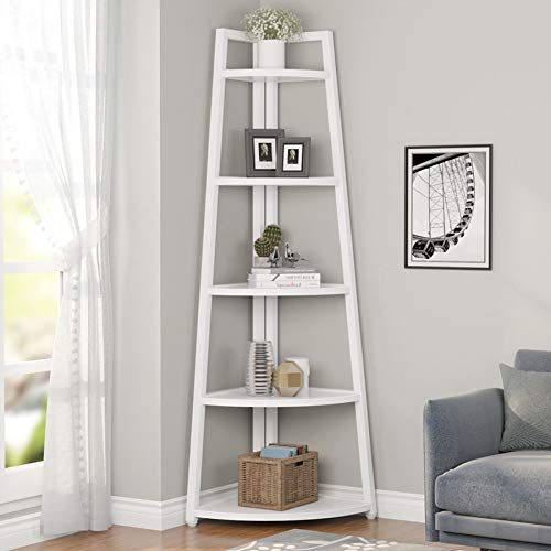 Tribesigns 5 Tier Corner Bookshelf and Bookcase, 70 inch Tall Corner Shelves Modern Corner Ladder Shelf Indoor Plant Stand for Living Room, Kitchen, Home Office (White)