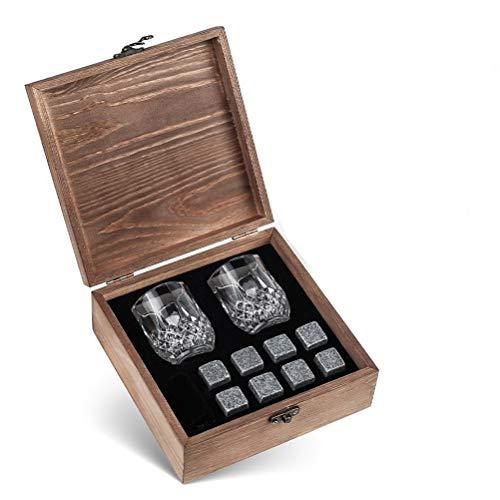 Aiglen 8 Piezas de Piedras de Whisky, Juego de Piedras de Hielo para Whisky, 2 Vasos, Caja de Piedras para Enfriar, Cubos de Hielo Reutilizables para Vino, Cerveza, Bebidas, Accesorios para Bares