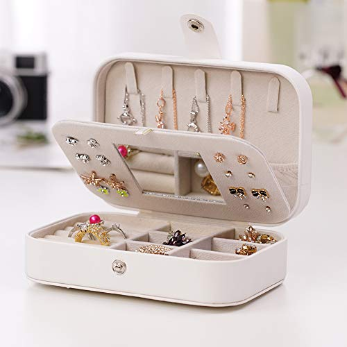 KANUBI Joyero para niñas, caja de almacenamiento de joyas de viaje, pendientes, collar y pulsera con espejo organizador de joyas