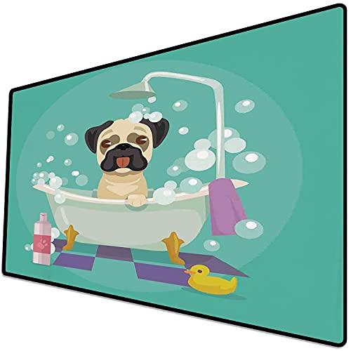 Alfombrilla de ratón (600x300x3 mm) Guardería, Perro Pug en la bañera Servicio de peluquería Servicio de champú Pato de Goma Mascotas Superficie Suave y cómoda de la Alfombrilla de ratón para Juegos