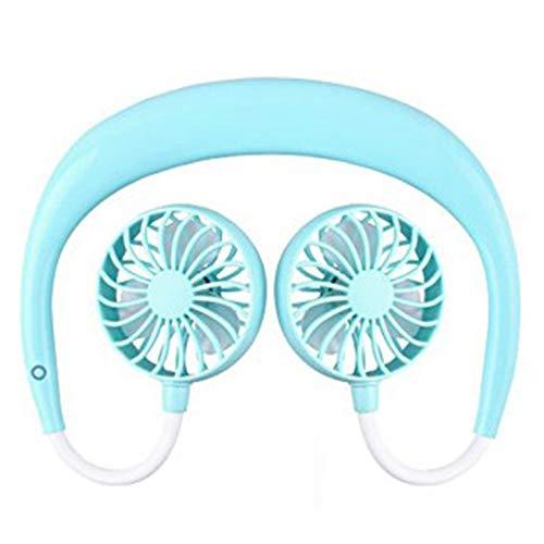 QiKun-Home Lazy Mini Halter Fan, Portable Home Office Ventilador Duradero de Aire frío, Ajuste Universal de 360 ° Motor de Cobre Puro Azul