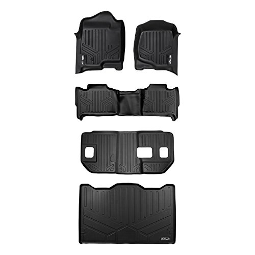 MAXLINER Floor Mats 3 Rows and Cargo Liner Behind 3rd Row Black for 2007-2014 Suburban/Yukon XL