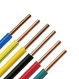 Verakee Ztengyu-Cable metálico 17 AWG 1MM2, Cable de Cobre de un Solo corazón, Cable de Cableado de Cableado Eléctrico Aisulado PVC, Cables Coloridos Aplicación Inicio Ampliamente Utilizado