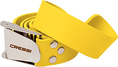 Cressi Quick-Release Elastic Belt with Metal Buckle, Yellow, One Size
