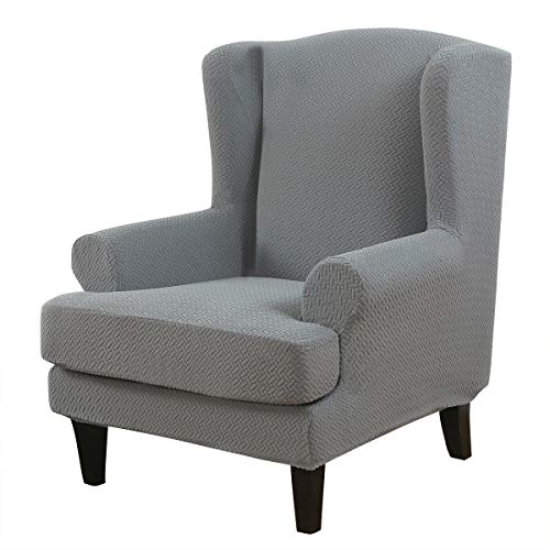 TOPCHANCES Wing Chair Slipcover ,Stretch T-Cushion Wingback Chair Slipcover for Wingback Chairs ,2-Piece Wingback Armchair Chair Covers Furniture Protector in Living Room,Machine Washable (Grey)