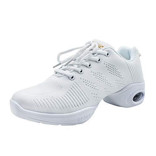 Yudesun Suela Partida Zapatos Aire Libre Deportes Danza Mujer - Zapatillas Blanco Informal Jazz Contemporáneo Baile Practicidad Running Sneaker (Los Zapatos Son Más Pequeños)