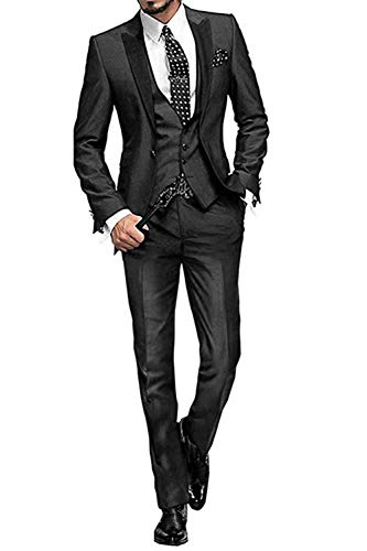 MY'S Men's Custom Made Groomsman Tuxedo Suit Pants Vest and Tie Set Black Size 44R