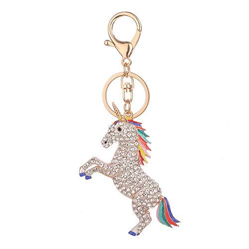 Qinlee Kristall Schlüsselanhänger Cartoon Einhorn form Ornament Daypack Handtasche Anhänger Geburtstagsgeschenk für Mode Damen Mädchen (Weiss)