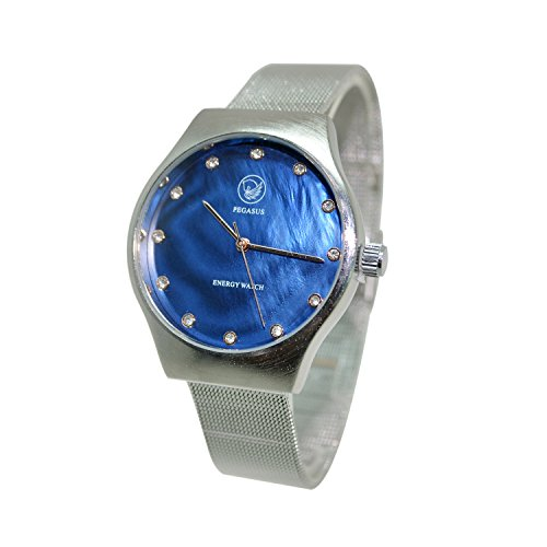 Herren Magnetschmuck Uhr Ocean Blue tiefblau analog Automatik mit Edelstahl Armband und Swarovski Elements Energetix 4you 2791