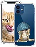 Opplei Funda para móvil compatible con iPhone 12 Mini 5.4 pulgadas 5G funda transparente dibujos animados lindo animal funda ultra fina silicona resistente a los golpes para iPhone 12 Mini 5.4 móvil