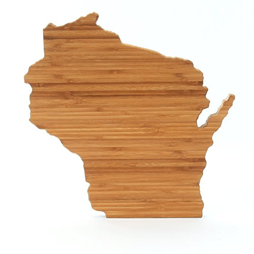Cutting Board Company Wisconsin Shaped Cutting Board, Bamboo Cheese Board