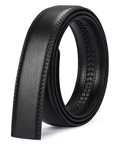 Nelbons Herren Gürtel Ratsche Automatik Gürtel für Männer 35mm Breit Ledergürtel, Ohne Schnalle Leder (Schwarz N0, Länge 125cm Geeignet für 30-43 taille)