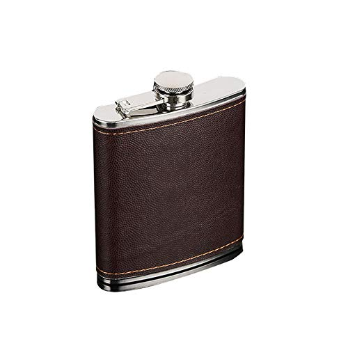 Valensha Men Faux Leather Wrapped Stainless Steel Whiskey Alcohol Hip Flask,Drinking Flask,Flask for Liquor 5-9oz 5oz