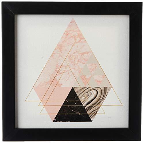 Quadro Decorativo Tela Canvas Geométrico Triângulos Diamante - 20x20cm (Moldura caixa laca preta) - Arte Maníacos