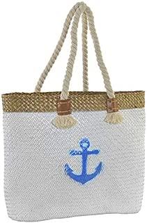 Bolsa de Playa/Capazo Grande, con Asas de Cuerda. Diseño Veraniego, con Estilo Marinero (45cm X 36cm X 14cm) - Hogar y Más - B