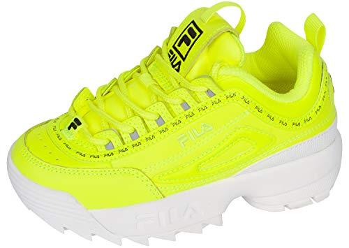 Fila Disruptor II Repeat PS Girls' Toddler-Youth Sneaker 1 M US Little Kid Yellow-White-Black-Neon