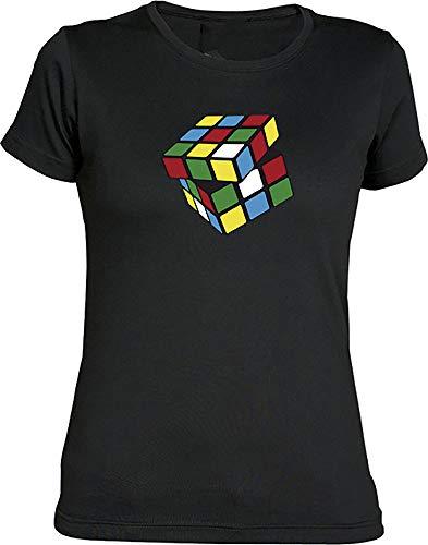Camisetas EGB Camiseta Chica Cubo Mágico ochenteras 80´s Retro (XL, Negro)